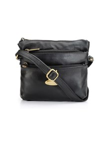 Teakwood Genuine Leather Women's Sling Bag Black